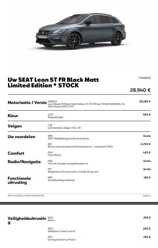 Seat Leon Configuratie